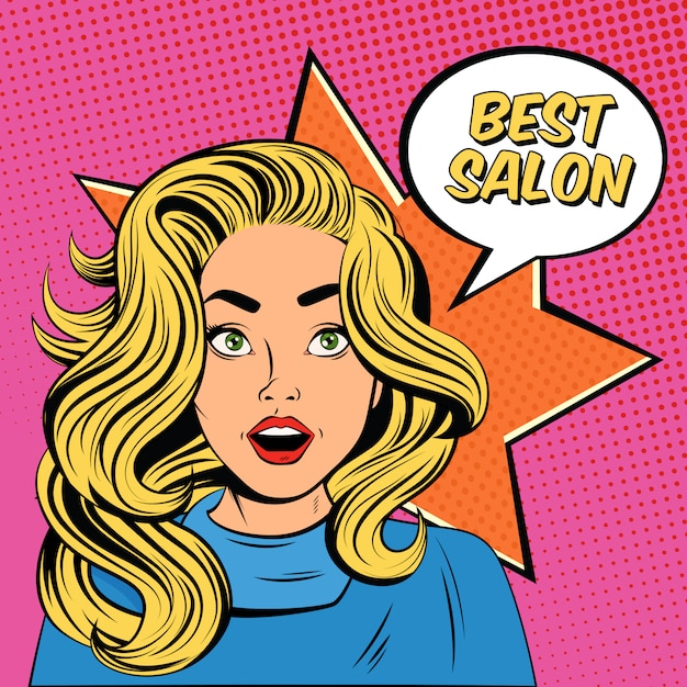 Young lady hairstyle salon advertisement poster Free Vector