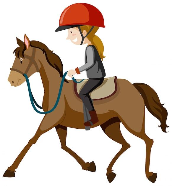 Молодая леди в шлеме или всаднике на лошади Бесплатные векторы