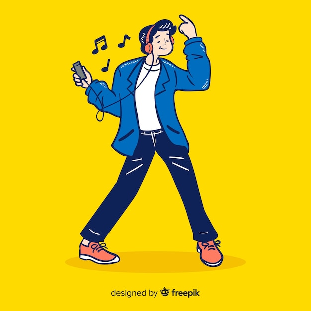 Young listening to music in korean drawing style Free Vector