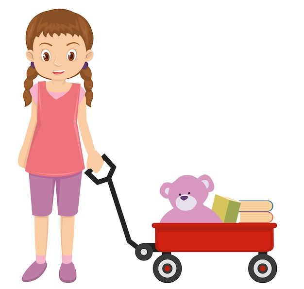 Young little girl playing with red wagon and pink teddy bear Premium Vector
