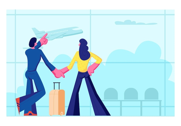 Young loving couple going for leisure. man and woman stand in airport terminal waiting flight watching flying airplane through window. summer time vacation, honeymoon. cartoon flat vector illustration Premium Vector