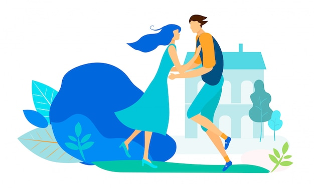 Young loving couple meeting in city park or yard. Premium Vector