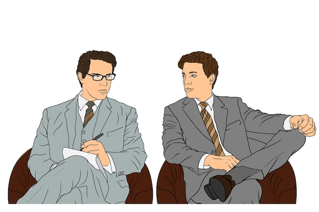 클래식 정장에 젊은 남성 기업인은 안락 의자에 회의에 앉아있다 프리미엄 벡터