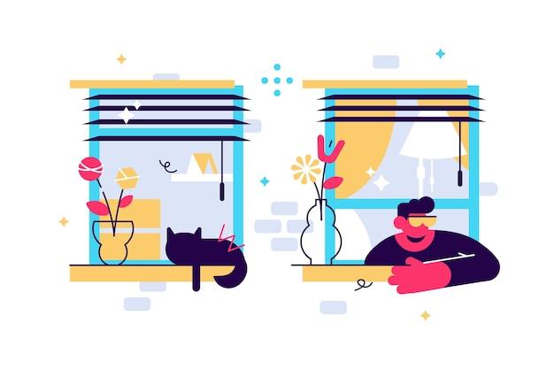 Молодой мужской персонаж смотрит в окно, самоизоляция и скука на карантине Premium векторы