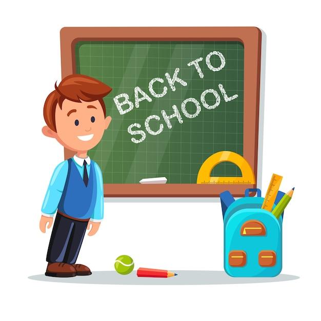 教室で黒板にレッスンの若い男性教師。学校に戻るレタリングが付いている黒板。家庭教師と白い背景のバックパック。教育教育のコンセプトです。 Premiumベクター