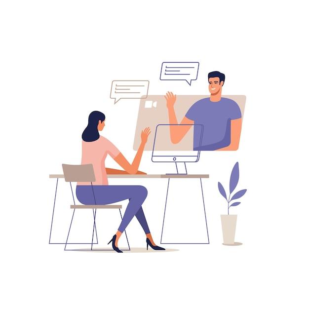 젊은 남자와 여자는 모바일 장치를 사용하여 온라인으로 통신합니다. 화상 통화 회의의 개념, 가정 또는 온라인 회의에서 원격 작업. 프리미엄 벡터