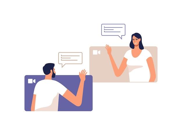 젊은 남자와 여자는 모바일 장치를 사용하여 온라인으로 통신합니다. 프리미엄 벡터