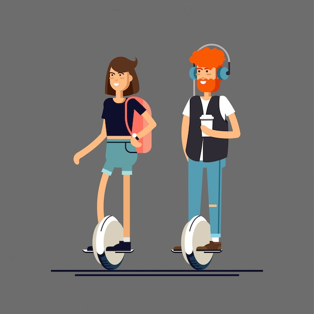 Молодой мужчина и женщина на электрический скутер моно колесо Premium векторы