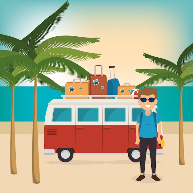 Young man on the beach summer vacations Free Vector