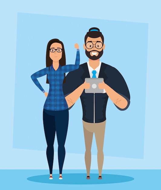 Young man bearded with woman characters Premium Vector