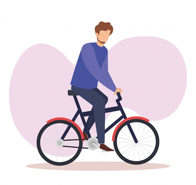 Young man in bicycle avatar character Free Vector