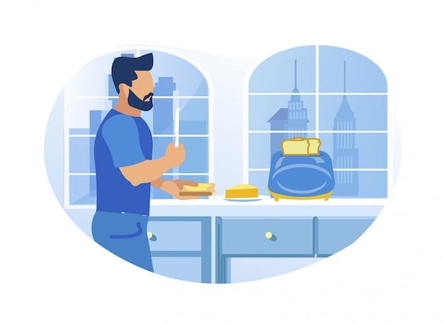 Young man buttering toast in the kitchen at home Premium Vector