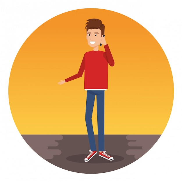Young man calling with smartphone character Free Vector