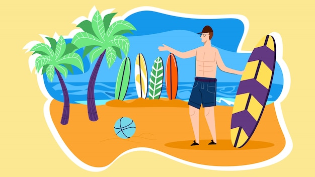 Young man character stand on beach with surf board Premium Vector