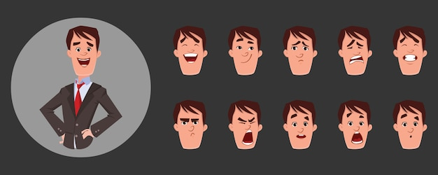 Young man character with various facial emotions and lip sync. character for custom animation. Premium Vector