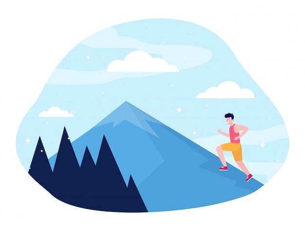 山に登る若い男 無料ベクター