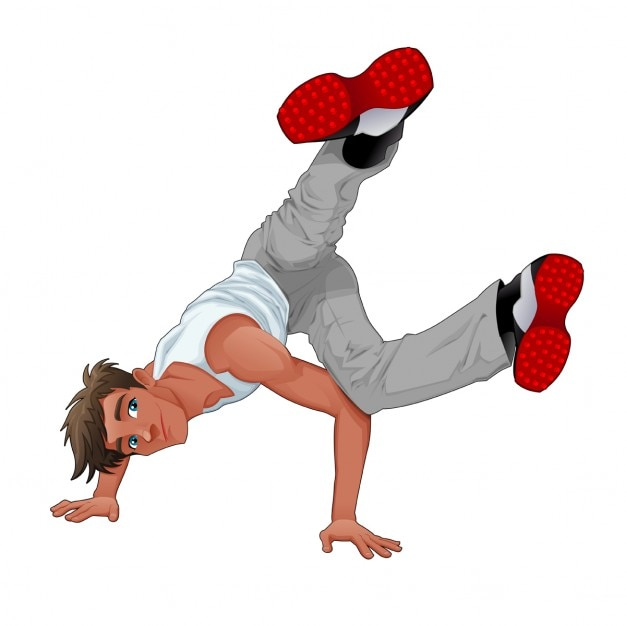 Young man dancing breakdance Free Vector