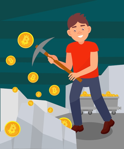 Young man digging coins from rock with pickaxe, man mining bitcoins, cryptocurrency mining technology  illustration in  style Premium Vector