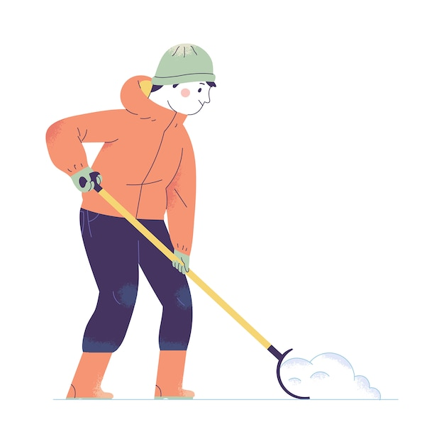 A young man dredges snow with a snow shovel in winter Premium Vector
