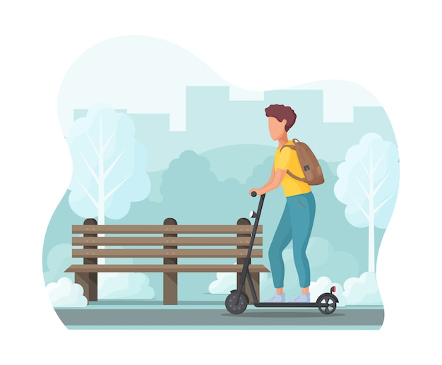 Young man on electric scooter in the park. ecology transport concept.  illustration. Premium Vector