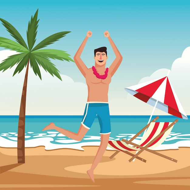 Young man enjoying summer Free Vector