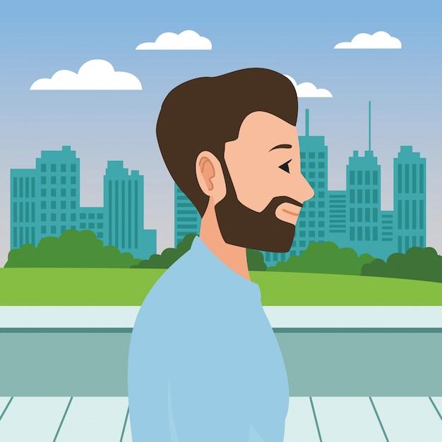 Young man face head profile cartoon Premium Vector