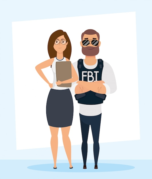 Young man fbi agent with woman characters Premium Vector