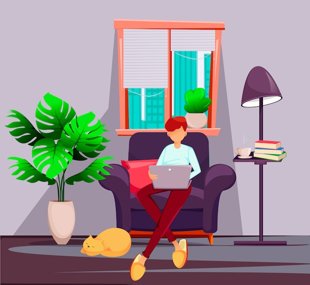 Young man freelancer works at home Premium Vector