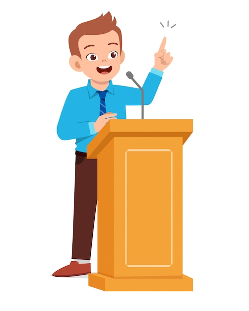 Young man give good speech on podium Premium Vector