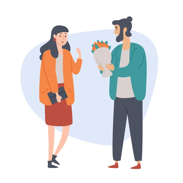 Young man gives a flovers to his girlfriend. Premium Vector