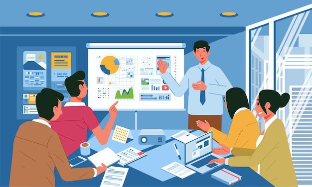 사무실 회의에서 비즈니스 프리젠 테이션을주는 젊은 남자, 사무실 회의실 인테리어 프리미엄 벡터