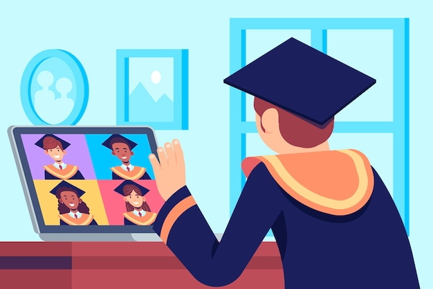 Young man having his graduation ceremony online | Free Vector