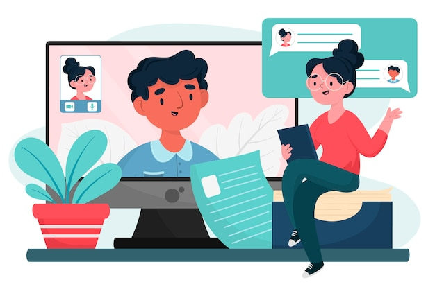 Young man having an online interview Free Vector