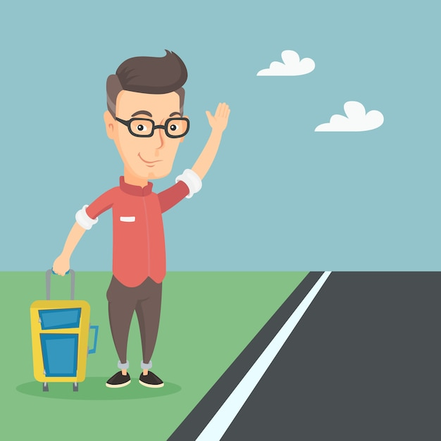 Young man hitchhiking vector illustration. Premium Vector