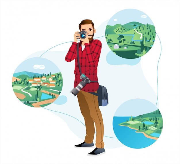 Young man holding camera and taking picture in nature landscape with white background Premium Vector