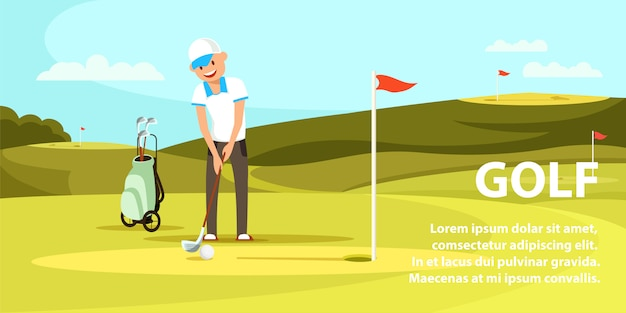 Young man holding golf club trying to hit ball. Premium Vector