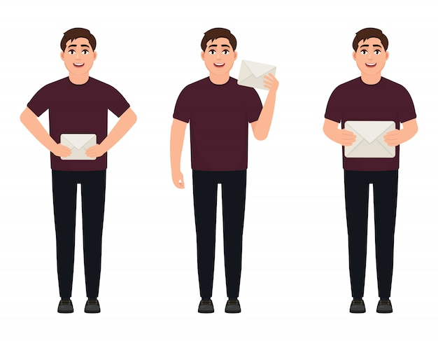 A young man holds white envelopes, a man brings or receives mail Premium Vector
