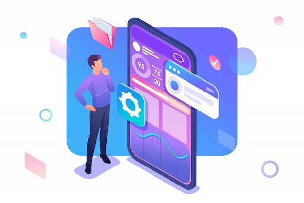 Young man is developing a mobile application for data collection Premium Vector
