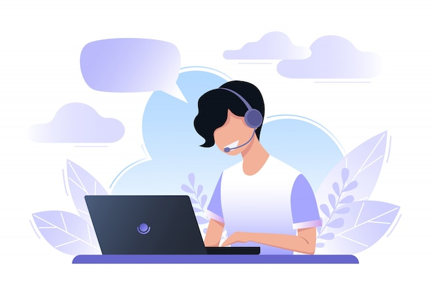 Young man is working on a laptop, call center, dispatcher. the boy answers the call, support service. vector illustration. Premium Vector