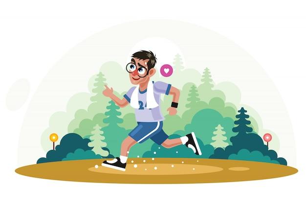 Young man jogging in park vector illustration Premium Vector