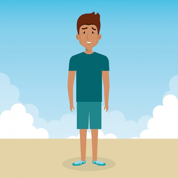 Young man in the landscape character scene Free Vector