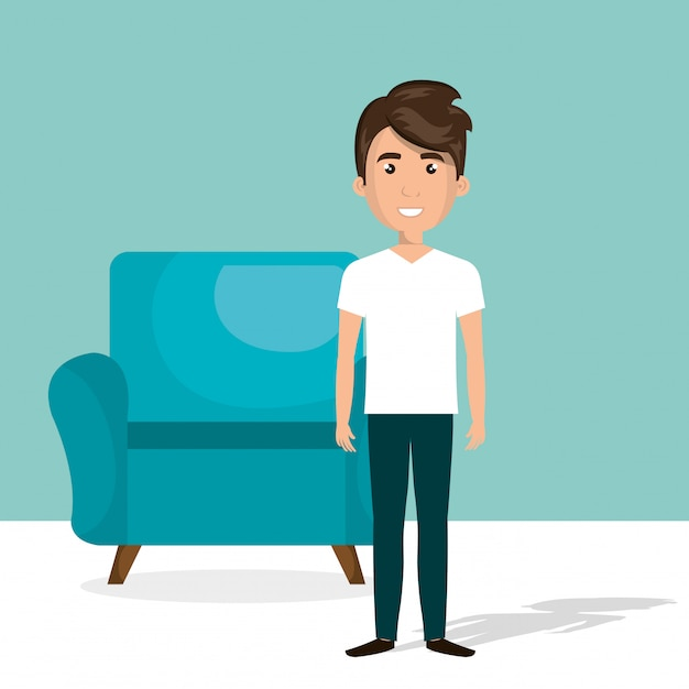 Young man in the living room character scene Free Vector