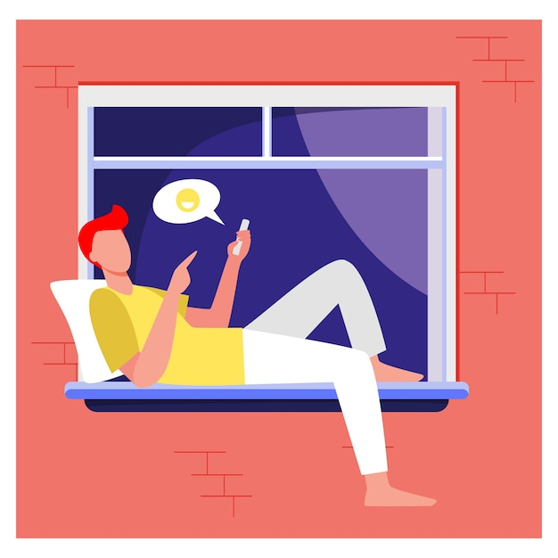 ウィンドウの上に横たわると電話を介してチャットの若い男。スマートフォン、ソーシャルメディア、男フラットベクトルイラスト。通信とデジタル技術 無料ベクター