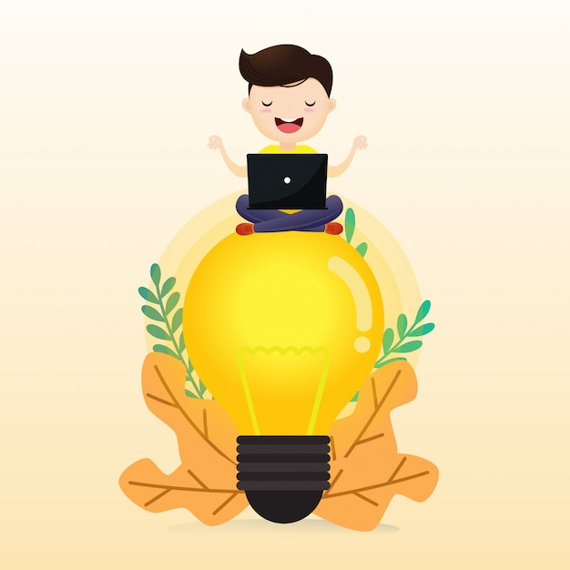 Young man meditating man sitting on abstract lamp. cloudy sky background. illustration, vector. Premium Vector