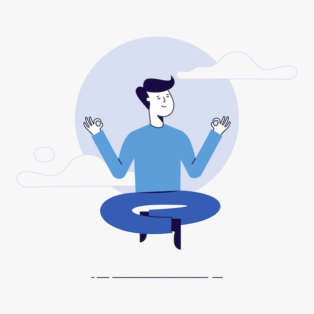 Young man meditating. Premium Vector