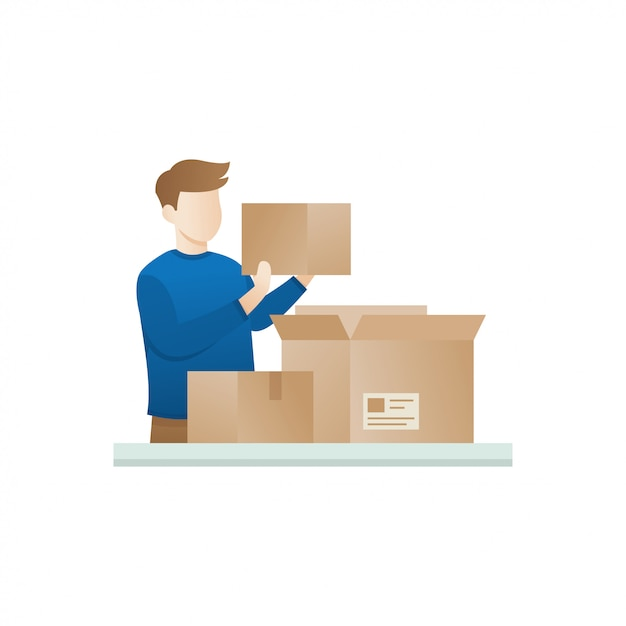 Young man open the package Premium Vector