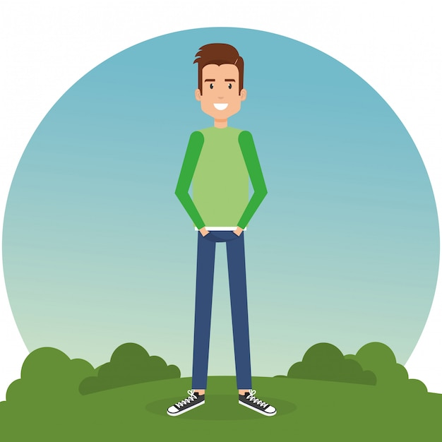 Young man in the park Free Vector