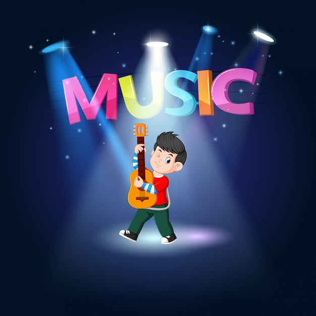 Young man playing guitar at the stage Premium Vector