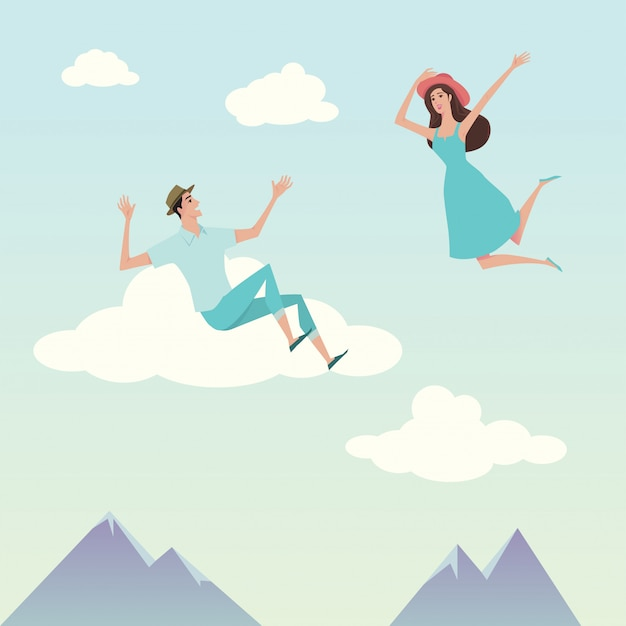 Young man and pretty girl over the sky. Premium Vector