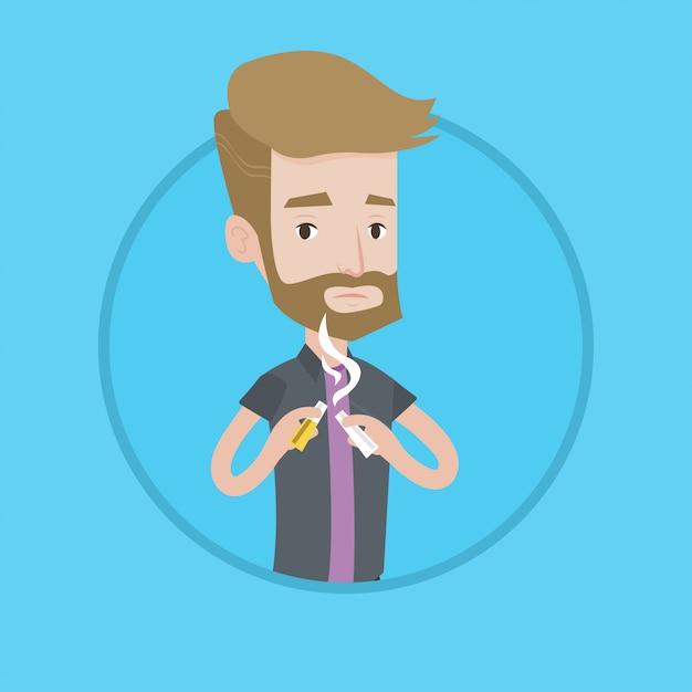 Young man quitting smoking vector illustration. Premium Vector